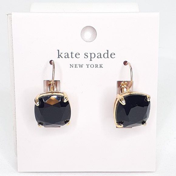 Kate Spade Black Stone Earrings Huggies NWT